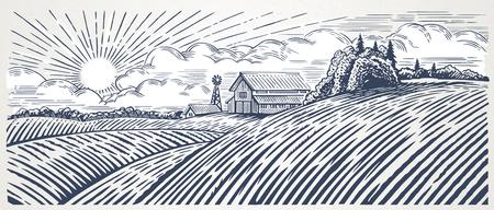 Ländliche Landschaft mit einem Bauernhof im Stich Stil. Hand gezeichnet und zu Vektor Illustration umgewandelt