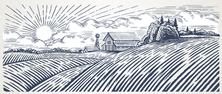 Rural landscape with a farm in engraving style. Hand drawn and converted to vector Illustration Ilustração