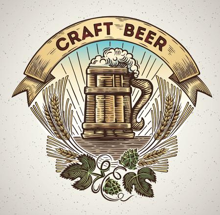 グラフィック スタイルとホップと耳の枝の要素でビールのジョッキ。手描きのイラスト。  イラスト・ベクター素材