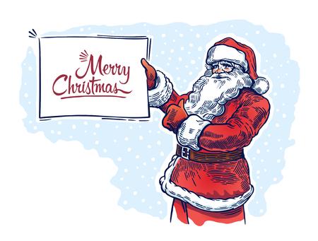 그의 손에 사인 접시와 졸리 산타