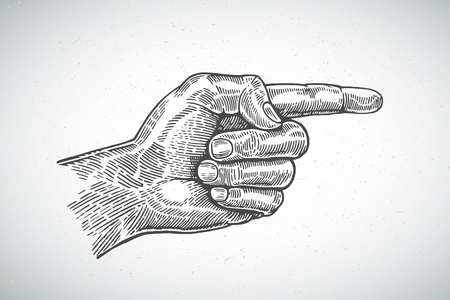 Hand with an extended index finger drawn in a graphical style Ilustração