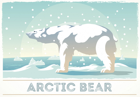 Polar bear stands on the snow  looking into the distance. Illustration
