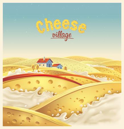 チーズ村架空風景ベクトル イラスト。