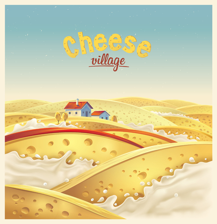 Cheese village fictional landscape vector illustration.