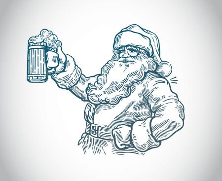 手のベクトルでビールを持つジョリーサンタクロース
