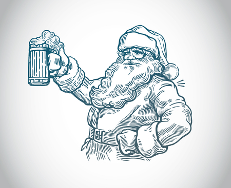 Jolly Santa Claus with a beer in hand vector Stock Illustratie