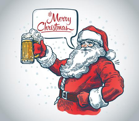 Jolly Santa Claus con una cerveza en la mano y con una burbuja de discurso. Ilustración de vector