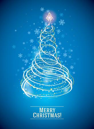 クリスマスツリーは、休日のシンボルとして、象徴的な、簡略化されたスタイルで描かられています。  イラスト・ベクター素材