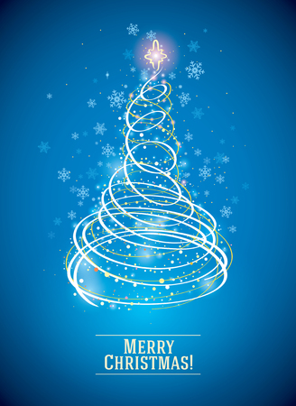 Christmas tree is depicted in a symbolic, simplified style, as a symbol of the holiday.
