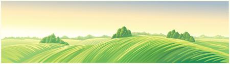 Ochtend landelijk landschap met heuvels, een langwerpig formaat voor het gemak om het als achtergrond te gebruiken.