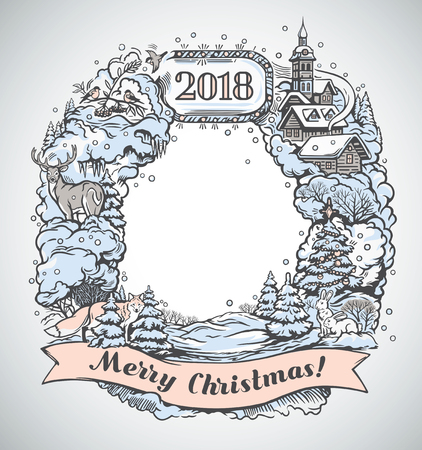 Festive graphic frame, is drawing by hand, with elements and objects of the Christmas holiday.