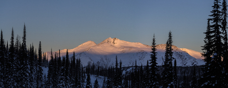 Winter wildlife mountain landscape with the top mountains. Panoramic photo.