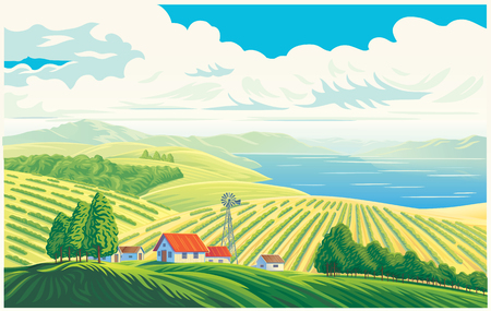 Rural landscape with a beautiful view of distant fields and lake or sea. Vector illustration.