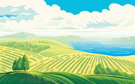 먼 필드와 호수 또는 바다의 아름 다운 경치와 농촌 풍경. 벡터 일러스트 레이 션.