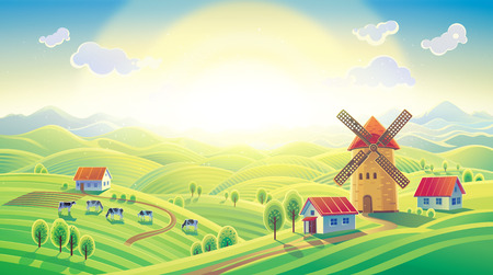 Rural sunrise landscape with a mill and village in a cartoon style. Raster illustration.