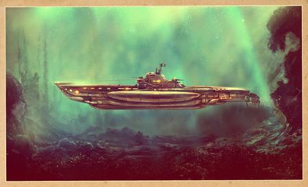 Fantastic pirate submarine in the underwater environment. Digital art, raster illustration.