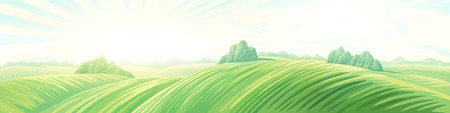 Morning rural panoramic landscape with hills. Raster illustration. 스톡 콘텐츠