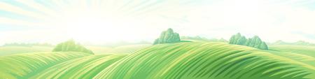 Ochtend landelijk panoramisch landschap met heuvels. Raster illustratie. Stockfoto