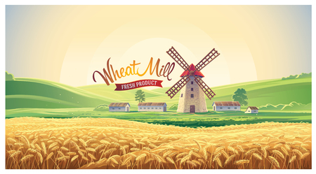 Rural summer landscape with windmill and wheat field. Vector illustration.