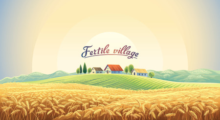 Rural landscape with a wheat field and a village on a hill. Vector illustration.