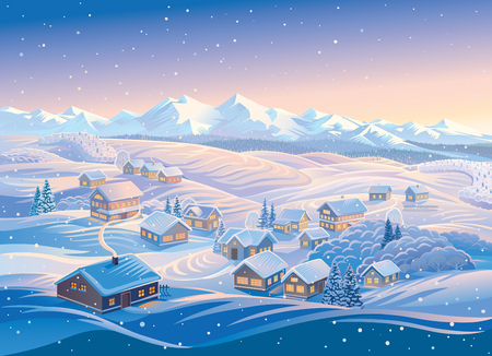 Winter landscape with a village and hills, montane forests in the snow. Vector illustration. Vettoriali