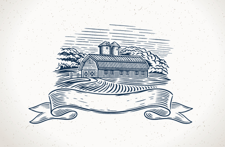 Graphical illustration of a countryside landscape with a design and a design element.