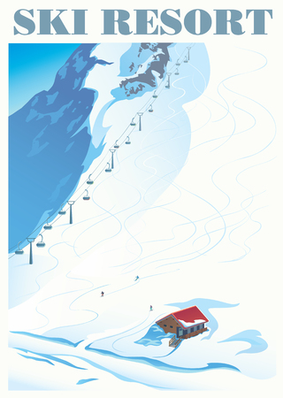 Winter landscape of a ski resort with mountains and a slope for skiing. Vector illustration.