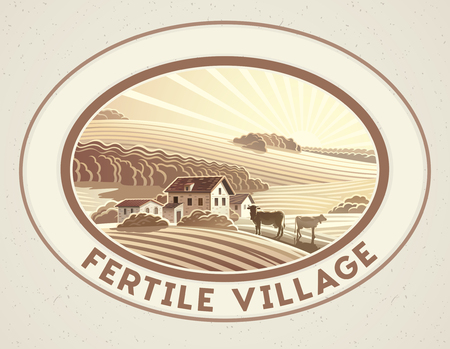 Rural landscape in the frame in monochrome color, a graphic design element for the creation of the label or trademark. Illustration