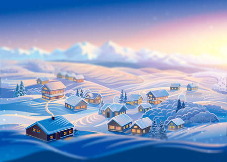 Winter landscape with a village and hills, montane forests in the snow. Raster illustration.