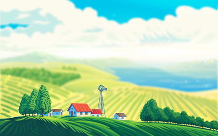 Rural landscape with a beautiful view of distant fields and lake or sea. Raster illustration.