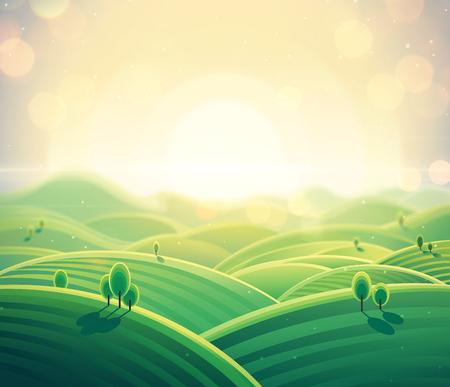 Morning rural landscape sunrise over hills. Raster illustration.