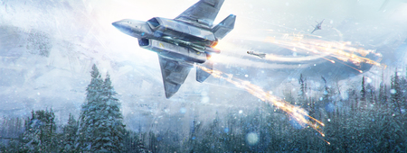 Air battle of two fantastic aircraft in the winter sky in the mountain landscape. Digital paint, raster illustration.
