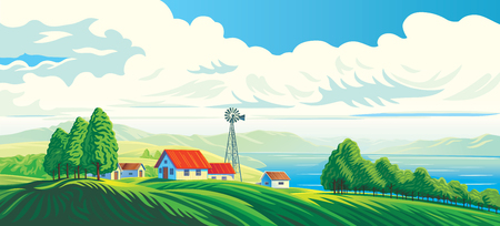 Rural landscape with a house, and a beautiful view of a distant lake or sea. Vector illustration.