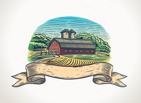 Graphical illustration of a countryside landscape Stock Illustratie