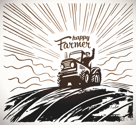 Happy farmer illustration on a tractor Imagens - 98662683