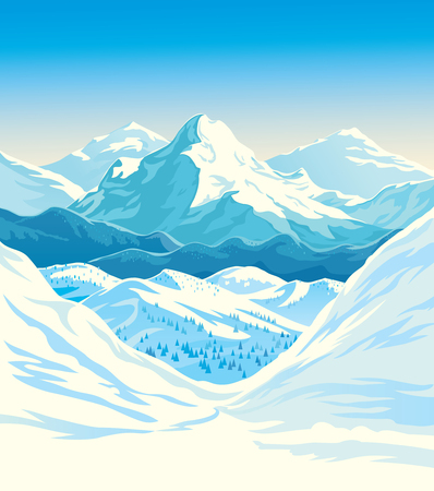 Winter mountain landscape with steep slopes along the edges. Vector illustration. Stock Illustratie