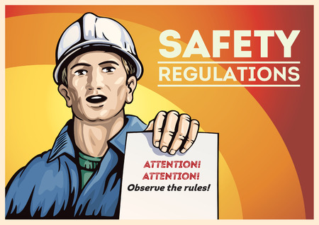 Poster with labor people, holding in her hand with leaflet  with instructions. Vector illustration. Illustration