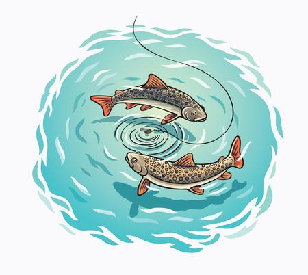 Fischen, Forelle schwimmen um die Ködervektorillustration.