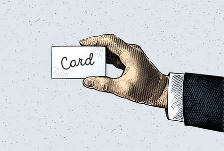 Mans hand generated in the engraving style, holds a card in the fingers