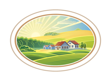 Rural dawn landscape with the villages houses in the frame, a graphic design element for the create of the label or trademark.