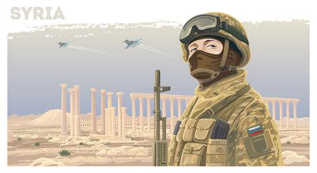 Russische speciale troepen soldaat tegen de achtergrond van het Syrische landschap met verwoeste oude ruïnes en vliegende vliegtuigen in de lucht. Vector Illustratie