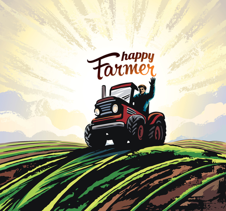 Farmer on the tractor, waving his hands, to the top of the hill against the backdoor of the sunrise, vector illustration in retro style.