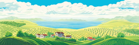 Rural panoramic view of distant fields, wight village, gardens and plantations with a large water lake or sea.
