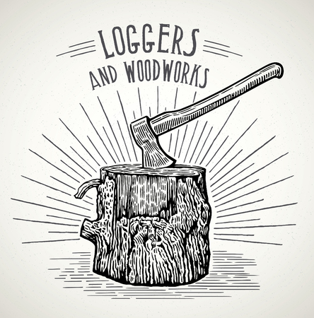 Ax stuck in a wooden stump illustration in a graphic style