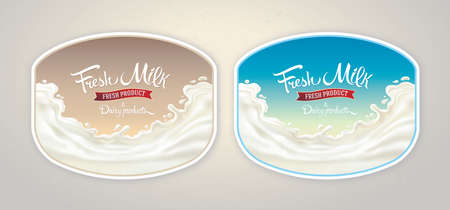Splash of milk, with a set of inscription as set design elements for label or packaging of dairy products Vettoriali