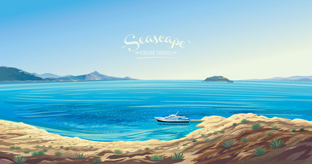 Seascape with the yacht symbolizing the marine leisure. Seashore presumably the Mediterranean.