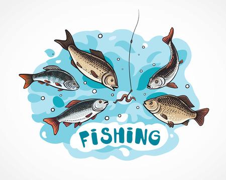 Illustrazione sulla pesca in stile cartone animato, attacco di pesce affamato a un amo (esca).