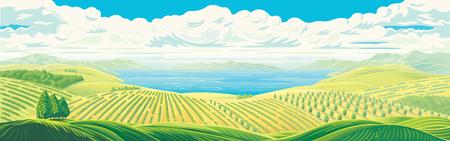 Vista panorámica rural de campos lejanos, jardines y plantaciones con un gran lago de agua o mar. Ilustración vectorial.