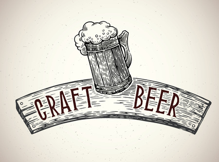 Beer mug drawn in graphical style, with a board and an thematic inscription