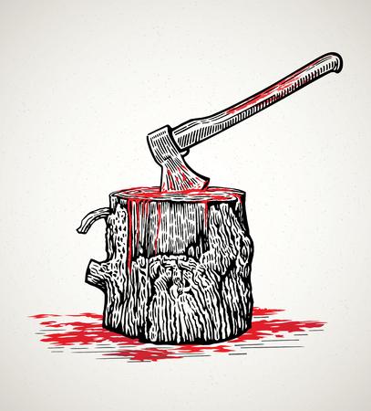 Hache dans une souche en bois avec des taches de sang Vecteurs